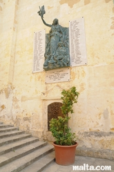 Nice statue in front of the Collegial Parish Church of St Lawrence in Vittoriosa Birgu