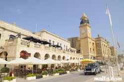 Restaurant and steeple of the Maritime Museum of Vittoriosa Birgu