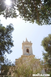 Steeple of the Old Church from the Train Station's garden of Birkirkara