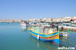 Maltese fishing boats onshore in Marsaxlokk