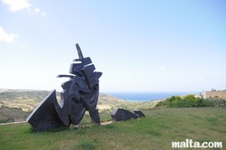 Nice statue in Nadur with views in gozo
