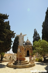 Statue and chapel in the Naxxar Cemetery