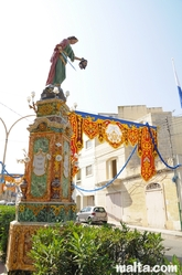 Decorative statue in the street of Tarxien for the feast