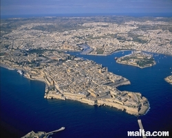 aerial view of Valletta