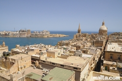 View of the roofs of Valletta with Carmelite Church and Sliema in the background