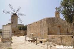 Church of St Andrew and the xarolla Windmill of Zurrieq