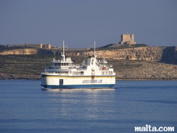 Gozo ferry and Comino in the background
