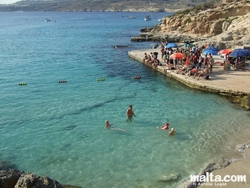 Small sandy beach in Comino.