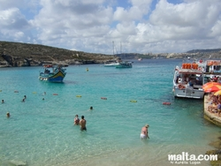The blue lagoon harbour in Comino