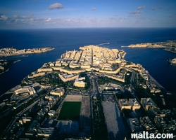 aerial view of valletta and Floriana