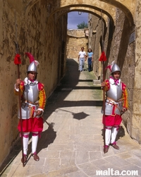 Knight costumes during a celebration in the citadella of Victoria in gozo