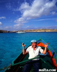 fisherman in the blue lagoon of Comino