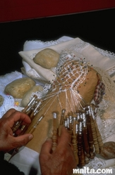 Traditional Maltese lace making
