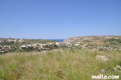 View of Fontana countryside and Xlendi at a distance.