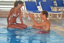 Couple at Jacuzzi  at the Seashells resort at suncrest