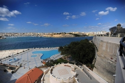 View of the pool and the Harbour from  the Excelsior Hotel Valletta