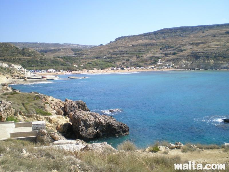 Gnejna Bay Sandy Beach And Limestone Cliffs