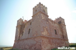 Corner view of the Santa Agatha Red Tower