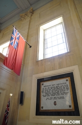 merchant navy flag and plate in St Paul Anglican Church Valletta