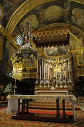 main altar in St. john's cathedral valletta