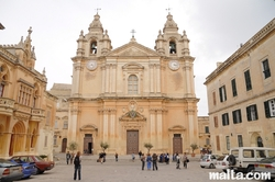 St Paul Square and Mdina Cathedral
