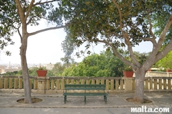 Bench on the piazza of the Argotti Botanical park in Floriana
