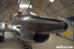 Front of a jet in the Malta Aviation Museum