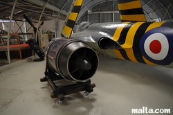 Jet engine by an airplane in the Malta Aviation Museum
