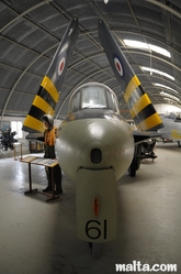 Nose of a plain in the Malta Aviation Museum