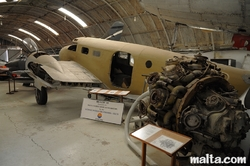 Wreck plane and engine in the Malta Aviation Museum