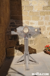 pillory at the old prison museum in Gozo