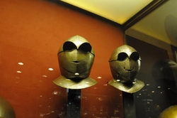 funny looking helments in the palace armoury in valletta
