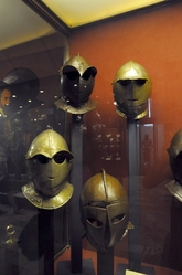 peculiar helmets in the palace armoury in valletta