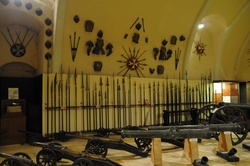 spears and cannons in the palace armoury in valletta