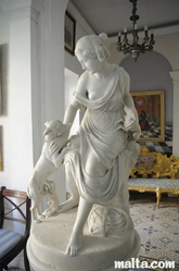 Carrara marble statue of the goddess Diana in the summer Dining Room of the Casa Rocca Piccola in Valletta