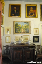 Paintings in the Porphyry Room of the Casa Rocca Piccola in Valletta