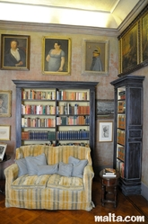 Paintings inside the Library of the Casa Rocca Piccola in valletta