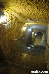 Stairs to the Big bomb Shelter in the Casa Rocca Piccola in Valletta