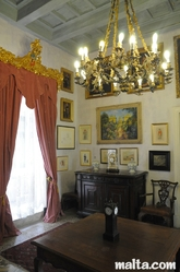 The Porphyry room of the Casa Rocca Piccola in Valletta