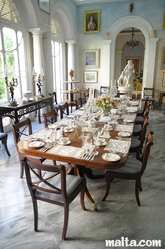 The summer Dining Room of the Casa Rocca Piccola in Valletta