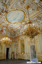 chandeliers and ceiling in Palazzo Parisio