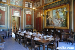 dinner table in Palazzo Parisio