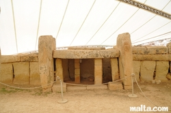 megalithic construction at equinoce and solstice orientated doorway at Mnajdra Temples near Qrendi