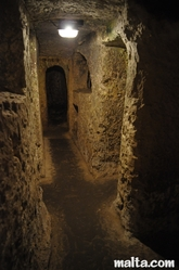 corridor of the St Paul's Catacombs in Rabat