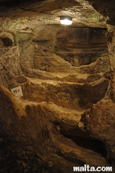 different burial areas in the St Paul's Catacombs in Rabat