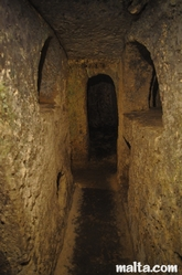 passage of the St Paul's Catacombs in Rabat