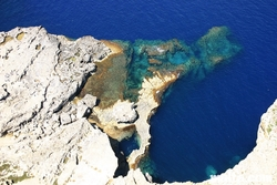 Aerial view of the Blue hole Dwejra