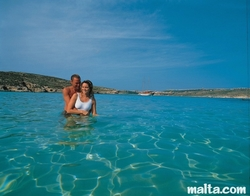 Water of the blue lagoon in comino