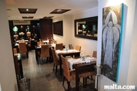 Main dining room and decoration of Serafino Restaurant