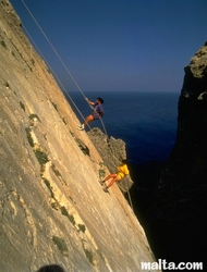 abseiling in the Cliff in Malta